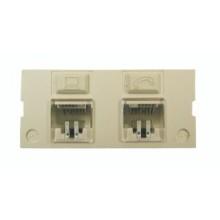 Jack MediaFlex GigaFlex inserta 2 puertos, Flush, CAT6 + Belden.