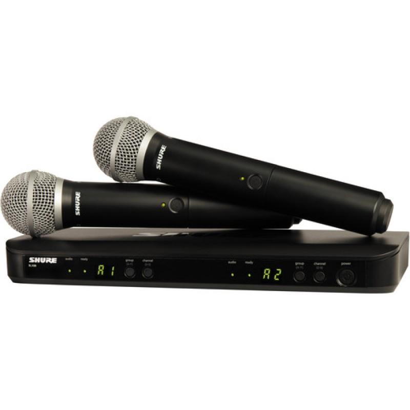Sistema inalámbrico de mano Shure BLX288 / PG58 con doble transmisor con 2 micrófonos PG58 (J10: 584 - 608 MHz)