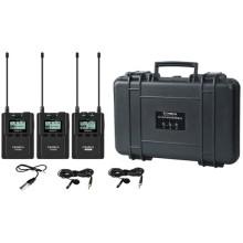 Transmisor dual montable en cámara Sistema inalámbrico UHF con micrófonos lavalier (520.0 a 548.5 MHz, 550.0 a 578.5 MHz) CVM-WM200A