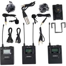 Transmisor doble montable en cámara Sistema inalámbrico UHF con micrófonos lavalier (520.0 a 548.5 MHz, 550.0 a 578.5 MHz) CVM-WM300A
