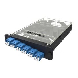 """Casete de empalme de placa frontal y panel, 24 fibras, puerto dúplex de 12 LC, 8.74 """"de largo x 6.34"""" de ancho x 1.3 """"de alto, conector azul, conjunto de plástico negro, para solución Fiber Express"""