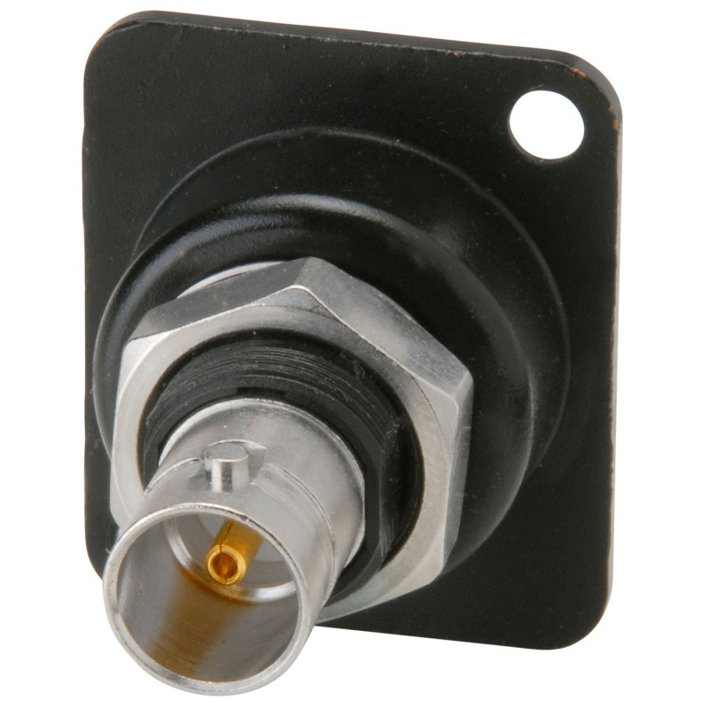 Adaptador del chasis de la carcasa en forma de D de Neutrik BNC (aislado, avance, negro)