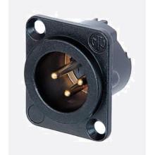 Conector XLR, 3 Contactos, Macho, Montaje en Panel, Contactos Chapados en Oro, Cuerpo Metálico, Serie DLX