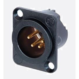 Conector XLR, Macho, 4, montaje en panel, cuerpo de metal, contactos chapados en oro Cumple con RoHS: Sí