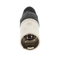 Conector XLR, 4 Contactos, Macho, Montaje de cable, Contactos con Recubrimiento de Plata, Metal