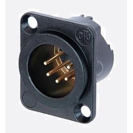 Conector XLR, Macho, 5, montaje en panel, cuerpo de metal, contactos chapados en oro Cumple con RoHS: Sí